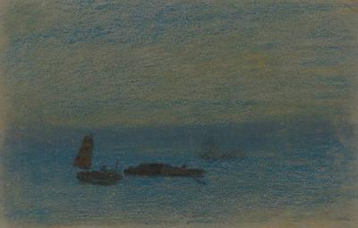 Pastel - Boats At Night by Arthur Bowen Davies