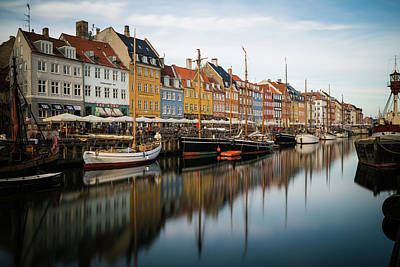 Boats At Nyhavn In Copenhagen Art Print