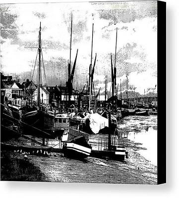 Digital Art - Boats At Sundown Canvas Print by Fine Art By Andrew David
