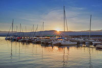 Boats At Sunrise On Lake Granby, Colorado 1 Art Print