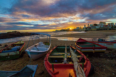 Photograph - Boats At Sunset, Bahia, Brazil by Venetia Featherstone-Witty