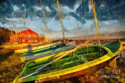 Digital Art - Boats At Sunset by Eva Lechner