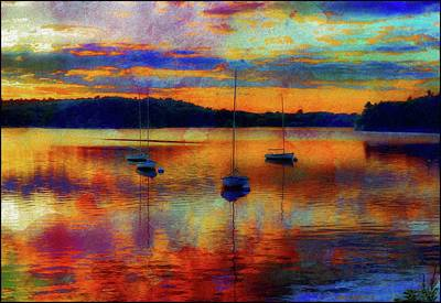 Boats At Sunset - Paint Edition Art Print by Lilia D