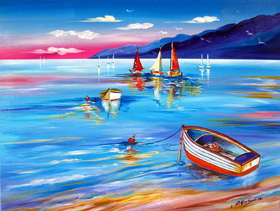 Painting - Boats At Sunset by Roberto Gagliardi