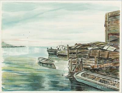 Boats At The Dock Art Print by Samuel Showman