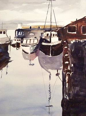 Painting - Boats At The Dock by Tom Steiner