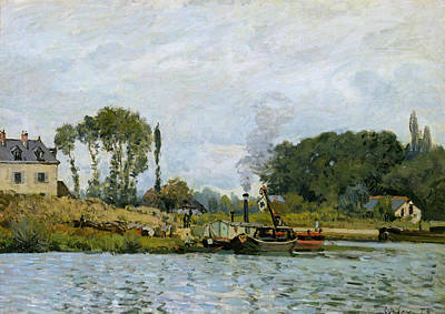 Lock Painting - Boats At The Lock At Bougival by Alfred Sisley
