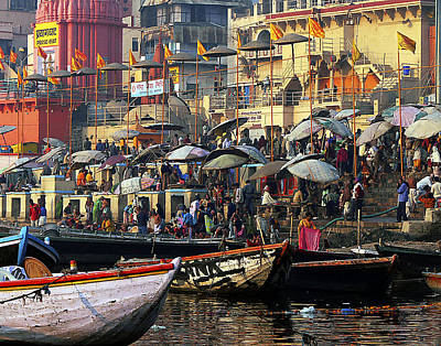 Photograph - Boats At Varanasi by Joel Gilgoff
