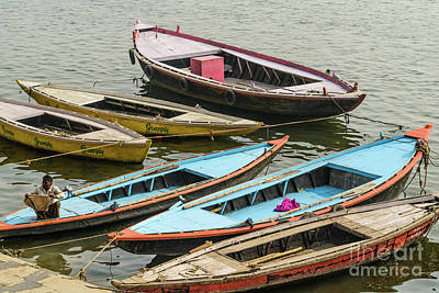 Photograph - Boats At Varanasi by Werner Padarin