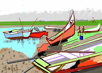 Digital Art - Boats-b by Anand Swaroop Manchiraju