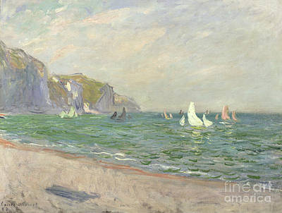 Impressionist Beach Painting - Boats Below The Cliffs At Pourville by Claude Monet