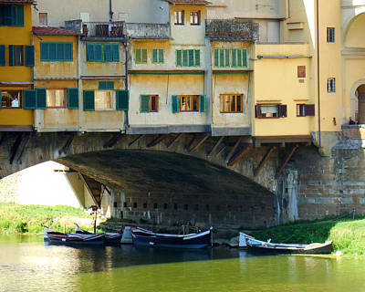 Photograph - Boats Beneath The Ponte Vecchio by Valerie Reeves