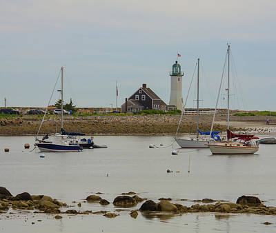 Photograph - Boats By Scituate Lighthouse by Brian MacLean