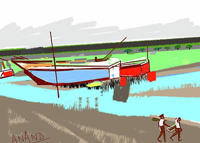 Digital Art - Boats-c by Anand Swaroop Manchiraju