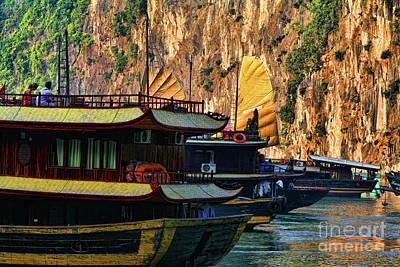 Photograph - Boats Dock Ha Long Bay Vietnam  by Chuck Kuhn