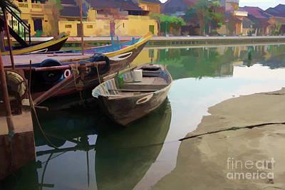 Boats Dock Oil Paint Digital Art Print