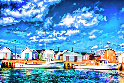 Digital Art - Boats Dock by Rick Bragan