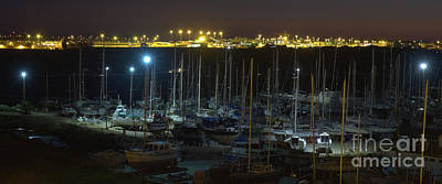 Travel Photograph - Boats Docked At Night In Faro by Angelo DeVal