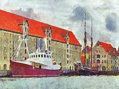 Digital Art - Boats Docked In Copenhagen by Digital Photographic Arts