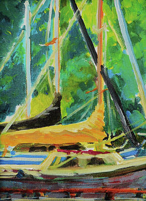 Boats Docked In The Morning Print by Margaret  Plumb