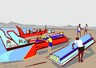Digital Art - Boats-e by Anand Swaroop Manchiraju