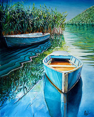 Painting - Boats Floating by Michel Angelo Rossi