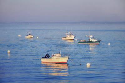 Photograph - Boats In A Harbor - Ocean Sunrise by Joann Vitali