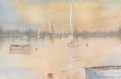 A Hot Summer Day Painting - Boats In A Marina 2. by Kim Hamilton