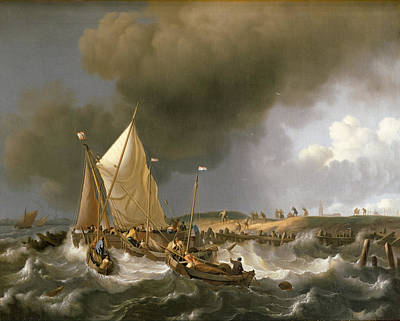 Painting - Boats In A Storm by Ludolf Bakhuizen