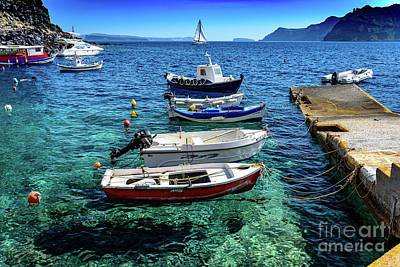 Photograph - Boats In Amoudi Bay, Below Oia, Santorini, Greece by Global Light Photography - Nicole Leffer