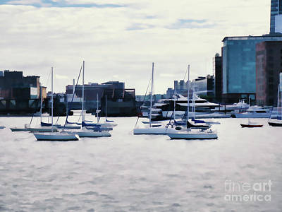 Painting - Boats In Boston Harbor by Lanjee Chee