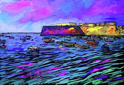 Boats In Cadiz, Spain Art Print