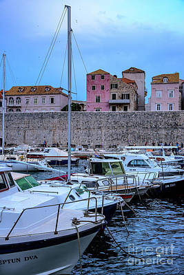 Photograph - Boats In Dubrovnik Old Harbor, Dubrovnik, Croatia by Global Light Photography - Nicole Leffer