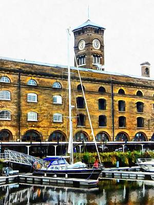 Photograph - Boats In Front Of Clock Tower St Katharine Docks by Dorothy Berry-Lound