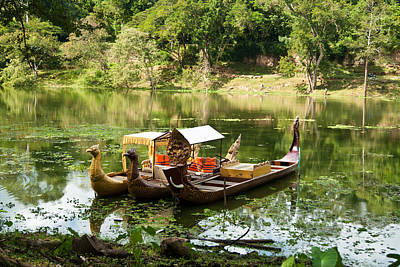 Photograph - Boats In Lake Ankor Thom by James Gay