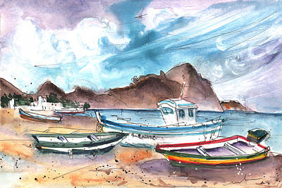 Painting - Boats In Las Negras In Cabo De Gata 01 by Miki De Goodaboom