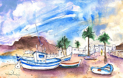 Painting - Boats In Las Negras In Cabo De Gata 02 by Miki De Goodaboom