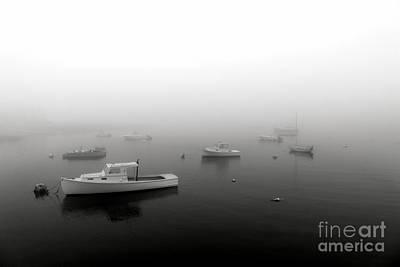 Boats In Maine Fog Art Print