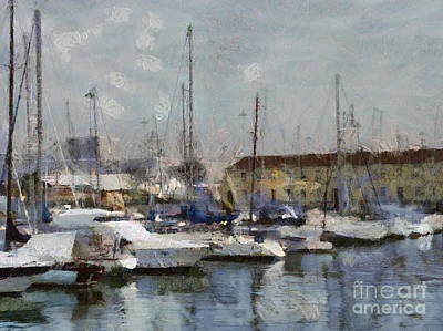Painting - Boats In Marina by Dimitar Hristov