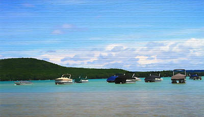 Mixed Media - Boats In Sleeping Bear Bay Wood Texture by Dan Sproul