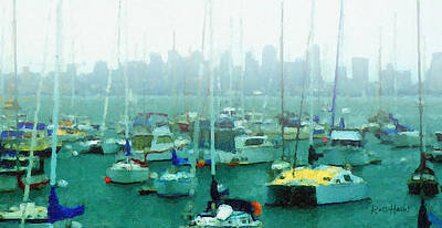 Buildings In The Harbor Painting - Boats In The Bay by Russ Harris