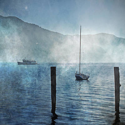 Boats In The Fog Art Print