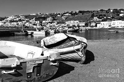 Photograph - Boats In The Mykonos Old Port Mono by John Rizzuto