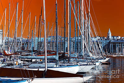 Photograph - Boats In The Port Pop Art by John Rizzuto