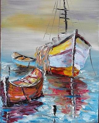 Painting - ''boats In The Sea'' by Asia Dzhibirova
