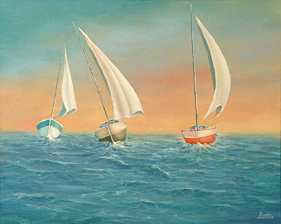Painting - Boats In The Sea by Radoslav Nedelchev
