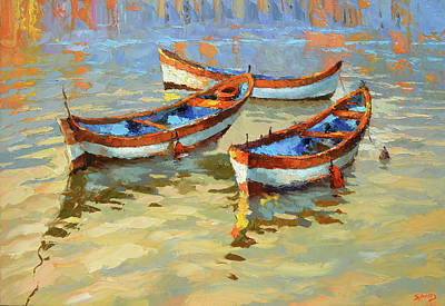 Painting - Boats In The Sunset by Dmitry Spiros