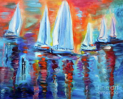 Painting - Boats In The Sunset by Jenny Lee