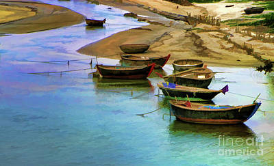 Boats Lake Vietnam Paint  Art Print