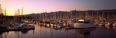 Of Santa Barbara Photograph - Boats Moored At A Harbor, Stearns Pier by Panoramic Images